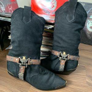 Vintage black harness Cowboy Boots